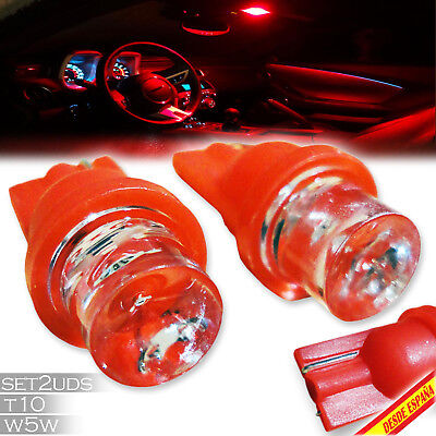 2X Bombillas T10 W5W 1 Led Rojo Red Smd5050 Coche Car Light Luz Interior Moto