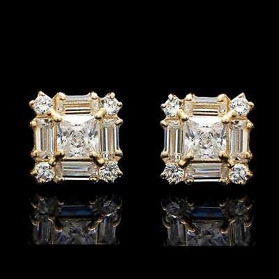 1.00CT Princess Baguette Round Created Diamond Cluster Earrings 14K Yellow Gold