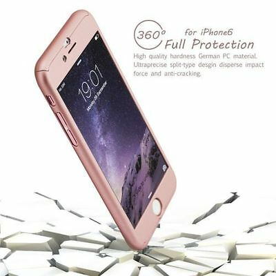 Hybrid 360° Hard Ultra thin Case+Tempered Glass Cover For iPhone 6 6S Plus 5 5S