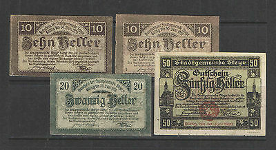 Austria 1920 NOTGELD STEYR Set of 4 VF (20 h) to UNC