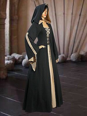 Medieval costume Renaissance Maiden Dress Gown with Hood, cotton Style Pirate