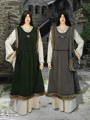 Renaissance Costume Fur Trimmed Overdress, Medieval Suede with Satin Clothing