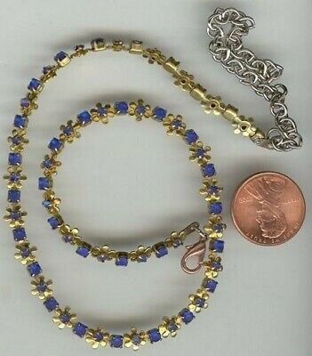 1 Vintage Brass Sapphire Rhinestone Flower Chain Adjustable Necklace  T386