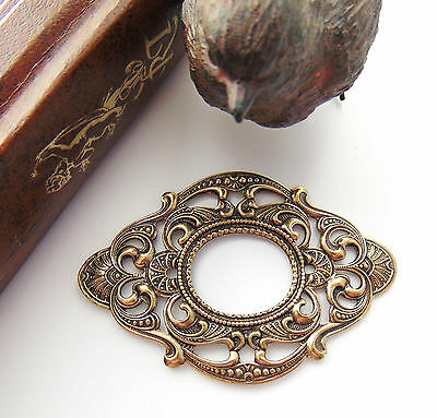 ANTIQUE BRASS Large Oval Scroll Filigree Stamping ~ Finding (C-1005)`