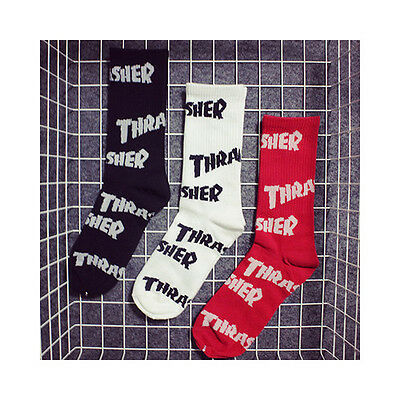 Mens THRASHER Cotton Long Socks Skateboard Black White Red