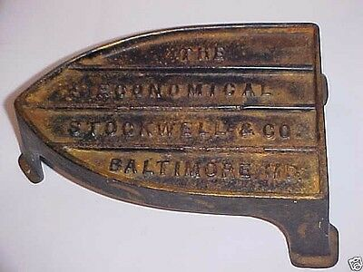 Antique Advertising Painted Iron Trivet : Economical Stockwell Co. Baltimore