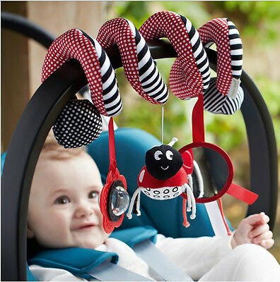 Musical Insect Activity Toy Spiral Cot Car Seat/Stroller Rattle For Infants Baby