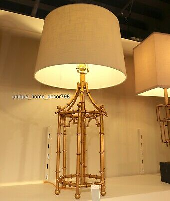 """New Gold Bamboo Birdcage 32"""" Table Lamp French Asian Chinoiserie Regency Light"""