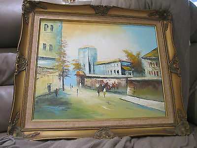 vintage style framed signed oil painting