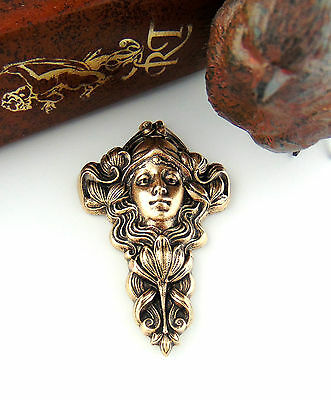 ANTIQUE BRASS Flower Girl Nymph Fairy Woman Stamping - Findings (C-204) `