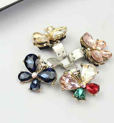 Cute Small Colorful Butterfly Rhinestone High Heel Shoe Clips Decoration