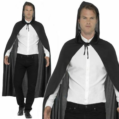 Adult Mens Ladies Unisex Black Hooded Cloak Cape Vampire Halloween Fancy Dress