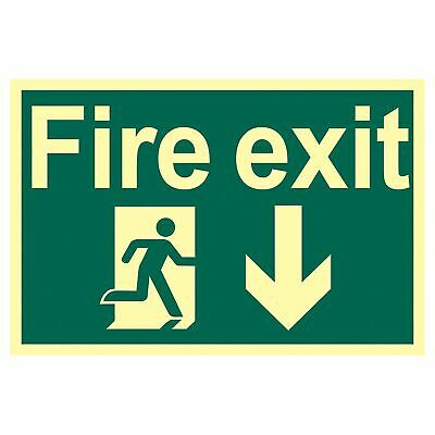 Draper Glow In The Dark 'Fire Exit Arrow Down' Safety Sign - 72600