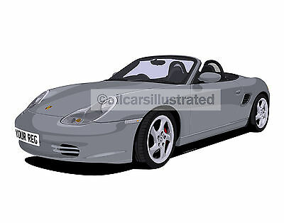 Porsche Boxster Car Art Print Picture (Size A3). Personalise It!