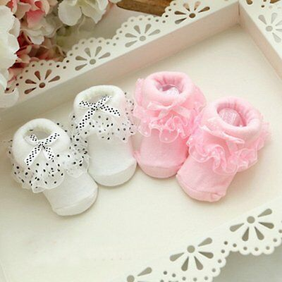 Newborn Toddler Infant Baby Girl Anti-slip Lace Cotton Socks Slipper Shoes Boots