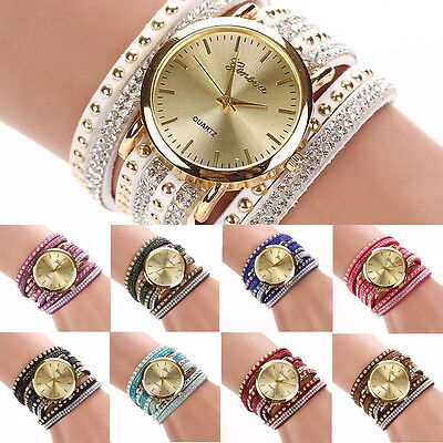 Women's New Fashion Geneva Faux Suede Rivets Rhinestone Multi-Wrap Wrist Watch