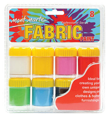 Mont Marte Fabric Paint Set with Medium 8pce x 24mls