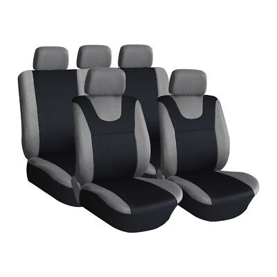 Grey, Prestige Style, Car Seat Covers, Front & Rear: Plush Velour (8 Piece)