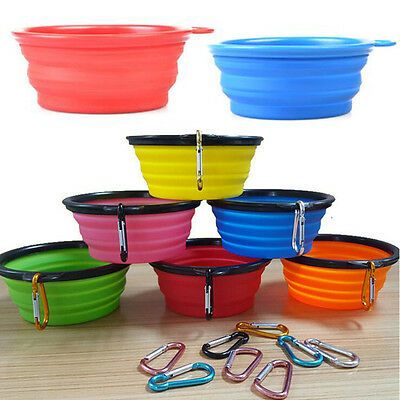 Portable Pet Dog/Cat Food/Water Silicone Collapsible Bowl for Travel