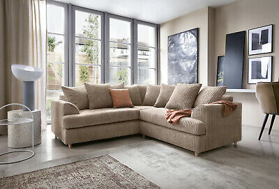 Ferguson Cord Chenille Fabric Corner Sofa in Brown or Grey , Swivel, Footstool