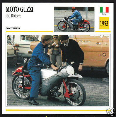1953 Moto Guzzi 250cc Bialbero (249cc) Italy Motorcycle Photo Spec Info Card