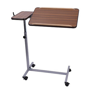 Adjustable Over Bed Chair Reading Eating Activity Table with Twin Top 4 Wheels