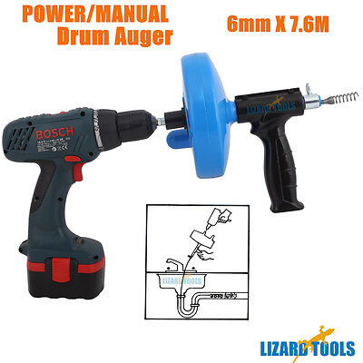 Electric Powered Manual Drain Snake Cleaner Plumbing Sink Pipe Unblocker Auger