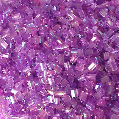 50g glass HEX seed beads - Violet Rainbow - size 11/0 (approx 2mm) 2-cut purple