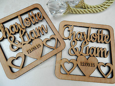 Personalised Mr & Mrs Couple's Wood Coasters, Rustic Gift, Vintage Style Wedding