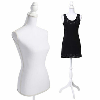 White Female Mannequin Torso Dress Form Display W/ WhiteTripod Stand New