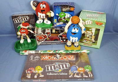 Lot 9 M&M Collectible Dispensers Monopoly Puzzle Department Dept 56 Wrapping