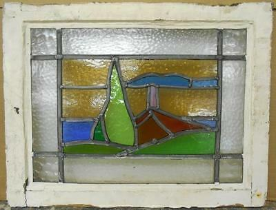 """OLD ENGLISH LEADED STAINED GLASS WINDOW Nice Church Scene 21.75"""" x 17"""""""