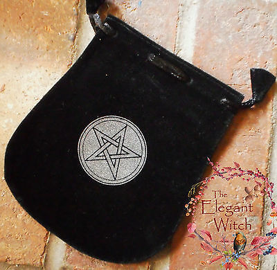 Black Velvet PENTAGRAM Pentacle BAG Pouch Tarot Mojo Wicca Pagan Witch