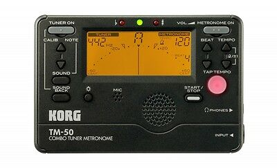 KORG TM-50 Chromatic Tuner & Metronome Black TM50BK Tunes Any Instrument