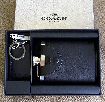 Coach Flask And Key Ring Bottle Opener Gift Box Set For Men's F64429