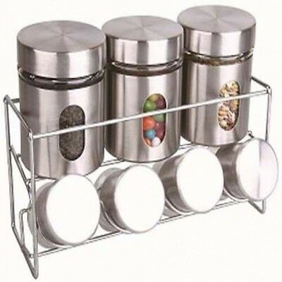Kitchen Storage Canister Set 4 Glass Jars 3 Steel Canisters For Coffee Sugar Tea