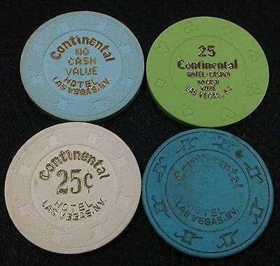 Set of 4 Continental 25¢-$1 Casino Chips Las Vegas Nevada H&C Paulson/8-suits
