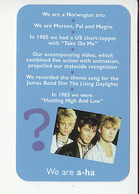 A-HA a-ha aha Pop Music Band 2006 QUIZ GAME TRIVIA PHOTO CARD