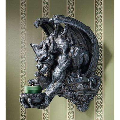 Gargoyle Gargouille Statue Wall Candle Holder Medieval Gothic Halloween Decor