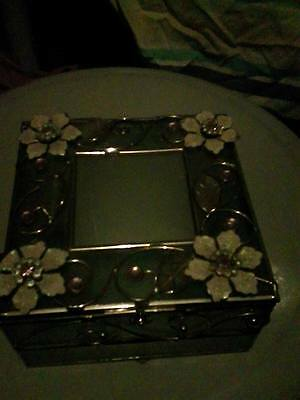 Frosted Glass Floral Trinket Box
