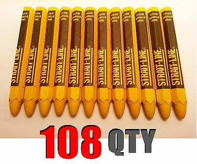Lot of 108 Strait Line YELLOW Lumber Crayon Markers 4.5in x 0.5in NEW