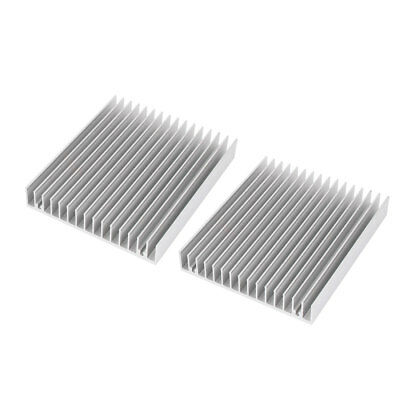 2 Pcs Aluminum Heat Sink DIY 120x100x18mm CPU HeatSink Cooling Fin Silver Tone