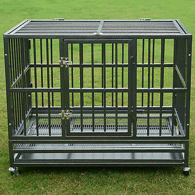 "37"" or 48"" Heavy Duty Strong Metal Pet Dog Cage Crate Kennel Playpen Wheels&Tray"