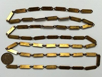 3 FEET VINTAGE PATINA AGED SOLID BRASS FLAT 20x6mm. DECO BAR LINK CHAIN  CH65