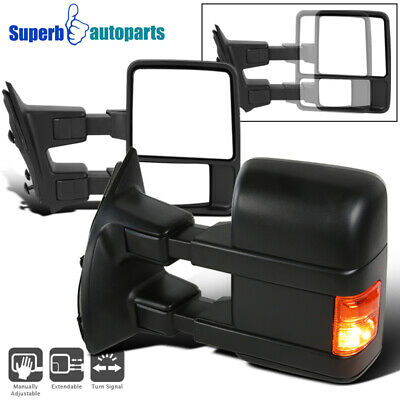 1999-2016 Ford F250 SuperDuty Manual Towing Mirrors+LED Turn Signal Lamps