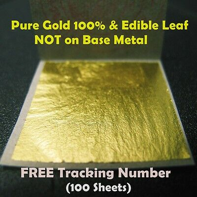 "100 Edible Gold Leaf Sheet Pure Real Genuine Leaves Gilding 1.18"" Craft Mask"