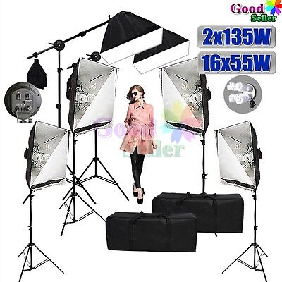 Photo 6 Soft Boxes Studio Softbox Lighting Boom Arm Continuous Light Stand Kit