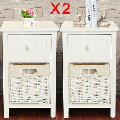 2 x Shabby Chic White Bedside Units Tables Drawers with Wicker Storage Cabinet