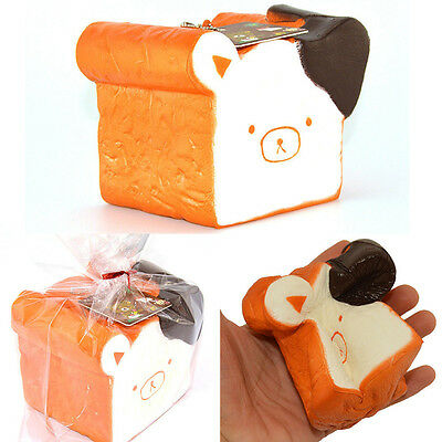 11cm Jumbo Squishy Kawaii Relax Bear Toast Slow Rising Cellphone Straps with Tag