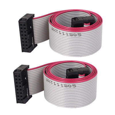 2pcs 2.54mm 16-Pin Female to Female IDE PATA Extension Flat Ribbon Cable 50cm
